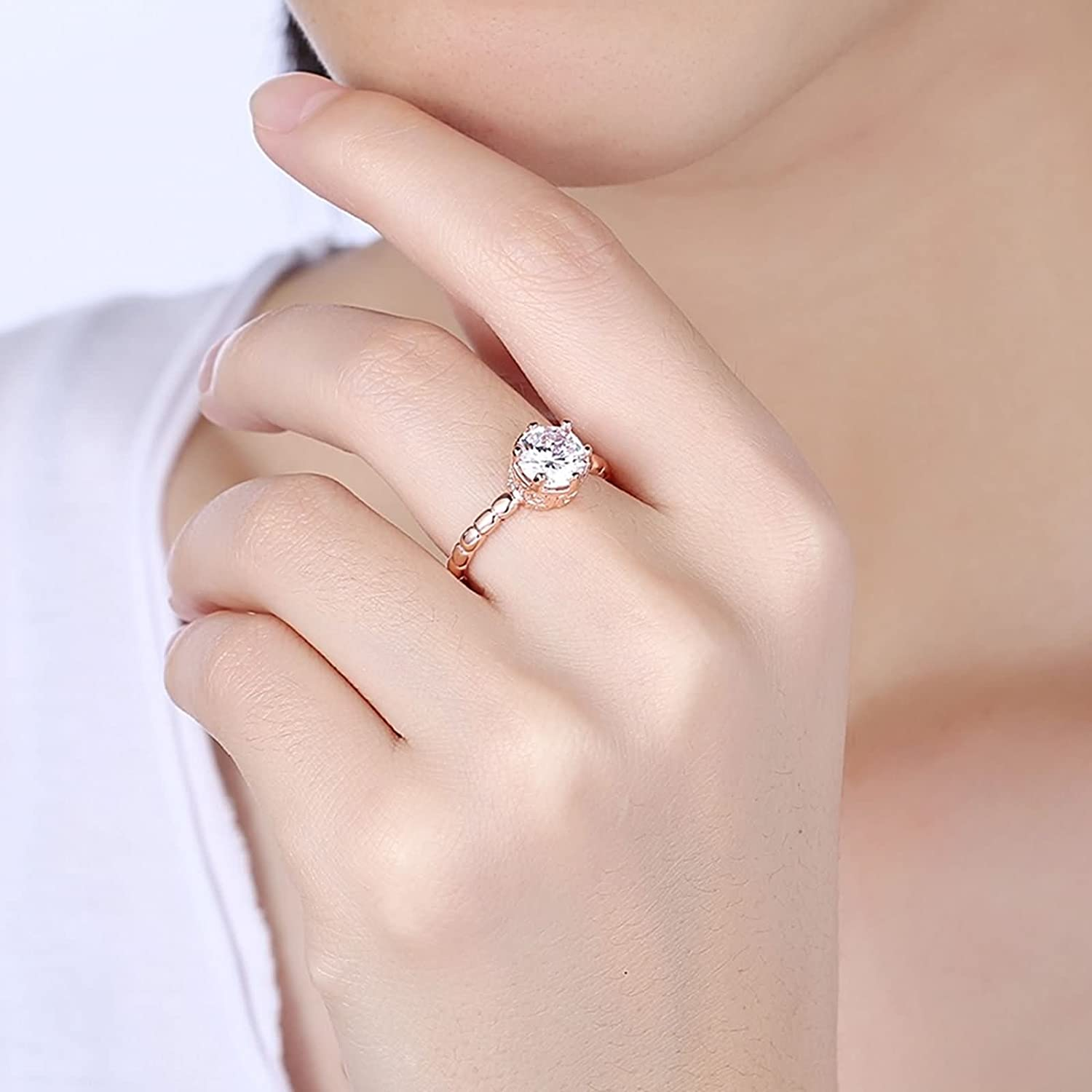 Amazon.com: Beydodo Women Ring, Gold Plated Ring for Brides Rose ...