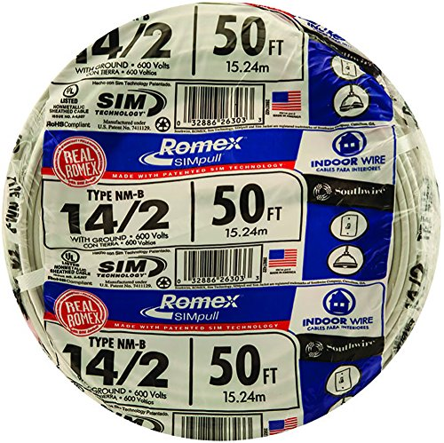 Southwire 28827422 50' 14/2 with ground Romex brand SIMpull residential indoor electrical wire type NM-B, (Electric Wire)