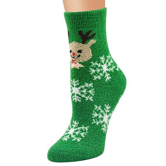 SHOBDW Mujer Hombre Unisex Regalo de Navidad Casual Suave Transpirable Cálido Coral Terciopelo Santa Snowman Calcetines Invierno Algodón Térmico Calcetines ...