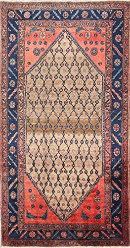 Rug Source Geometric Koliaei Hamedan Hand Knotted Vintage Persian Area Rug 5x8 For Dining Room (8' 5'' x 4' (Hamedan Persian Hand Knotted Rug)
