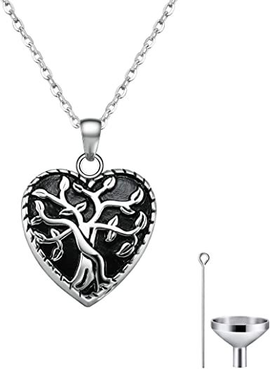 Cat Eye Jewels Memorial Cremation Ash Holder Urn Necklace for Ashes for Men Women Life Tree Pendant with Angel Wing and Birthstone Charm with Funnel Kit