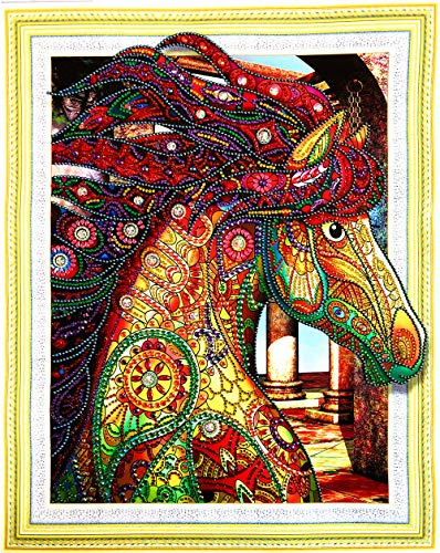 Rando 5D Diamond Painting by Number Kit,Diamond Art,Colourful Horse Special Shaped Diamond Mosaic Embroidery,Cross Stitch Kit,15.7x19.7 inches