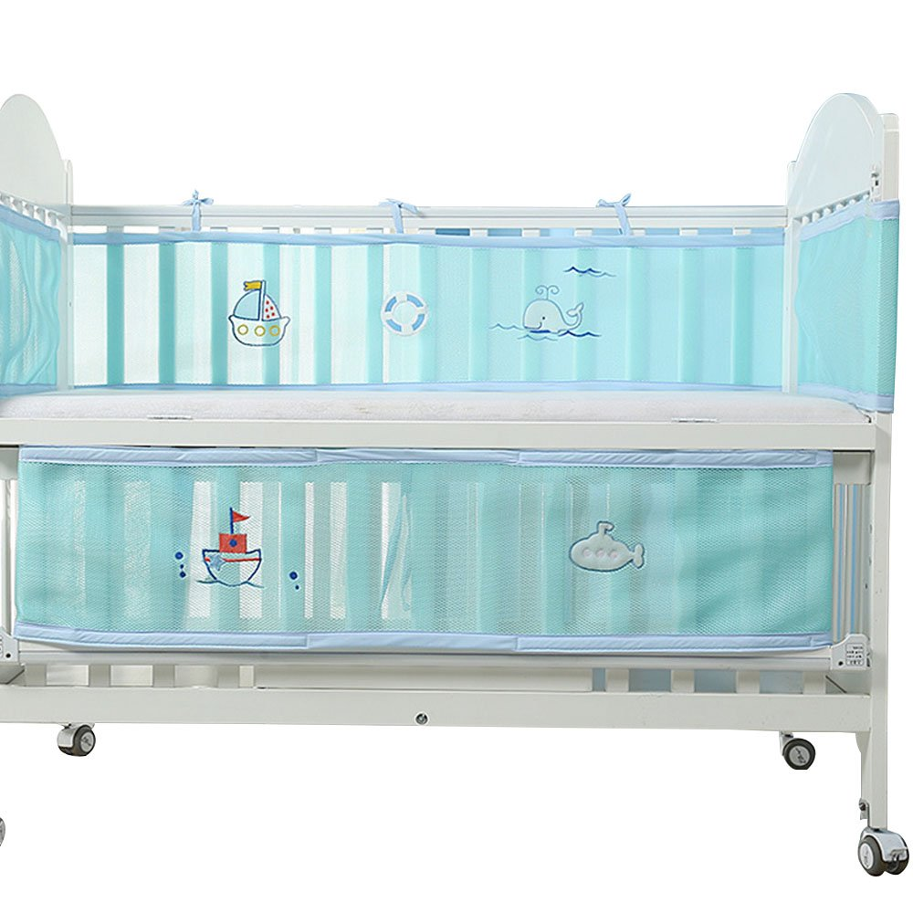 4 Sided Baby Bumper Set Moonvvin Unisex Cot Mesh Liner Breathable Cartoon Cot Bedding with Lovely Chick Pattern