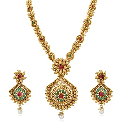 Buy Apara Traditional Long Necklace Set With Pearl Drop And