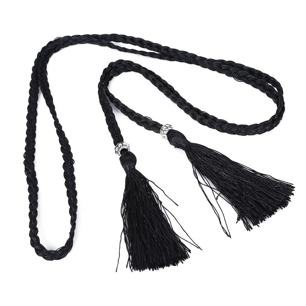 Iumer Women Tassel Belt Weaving Waist Rope Ethnic Wind Dress Accessories,Black