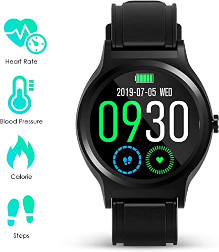 GOKOO Smart Watch Activity Fitness Tracker with Heart Rate Blood Pressure Sleep Monitor Remote Camera Music Control Reminder Calorie Stopwatch Full-Touch Color Screen Smartwatch Black