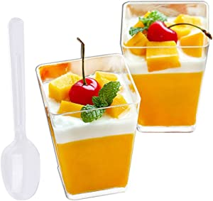 Tosnail 100 Pack 5 Oz Tall Square Clear Plastic Dessert Tumbler Cups with 100 Plastic Spoons - Great for Event and Party