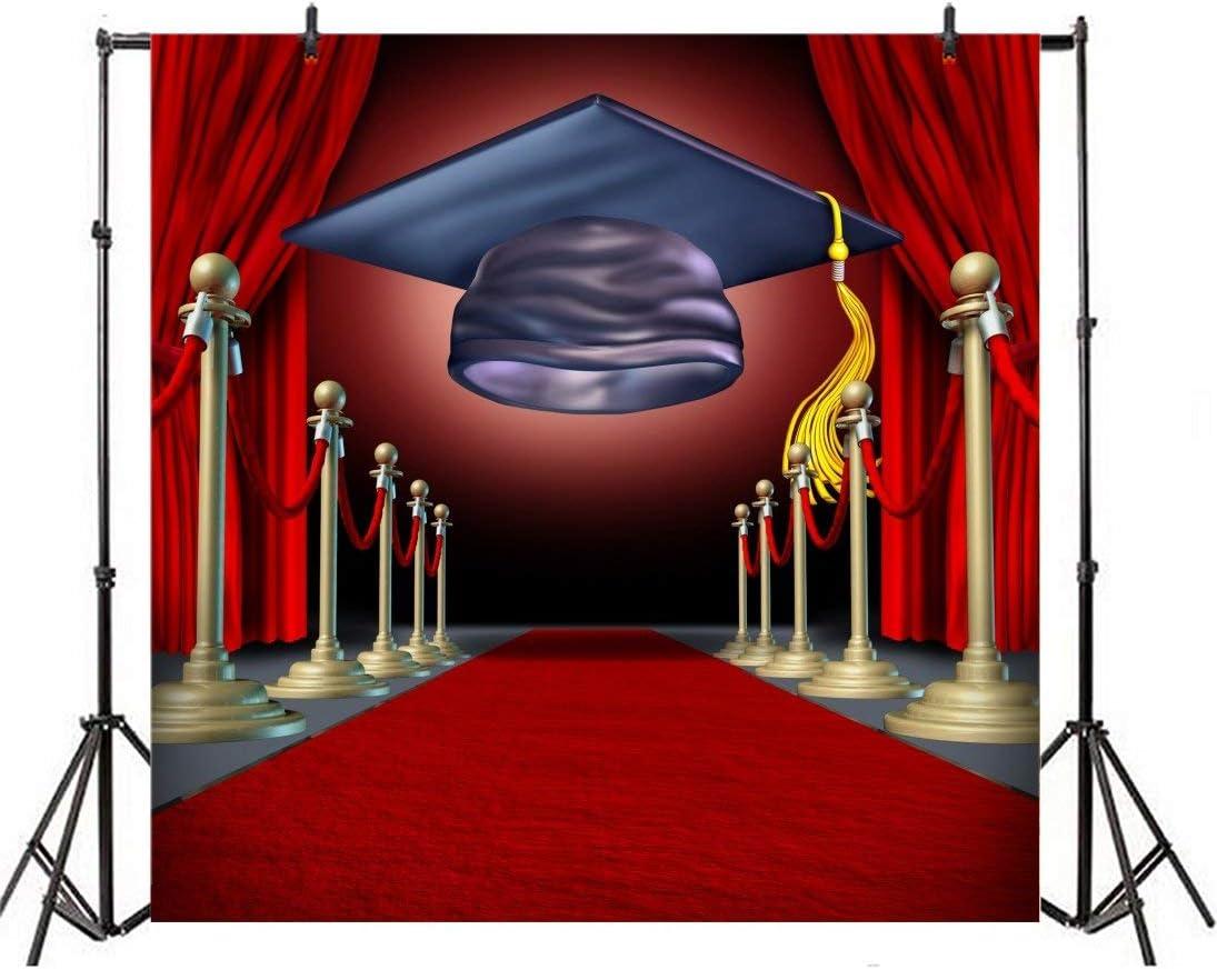6x6FT Vinyl Stage Themed Graduation Photo Backdrop Red Curtain Carpet Graduation Ceremony Photography Background College Grad Graduation Prom Decoration Portrait Photo Shoot Studio Props