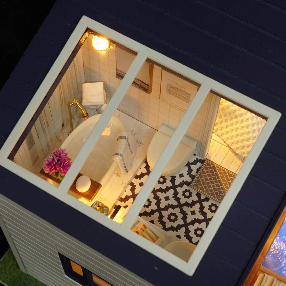 Amazon.com : Dollhouse Miniature DIY House with LED Light ...