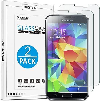 OMOTON [2pack]Cristal Templado Galaxy S5 Protector de Pantalla ...