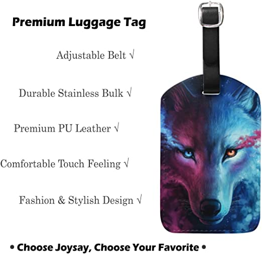 Simoner Wolf Round PU Leahter Luggage Tags Privacy Protection Travel Bag Labels Suitcase Tags