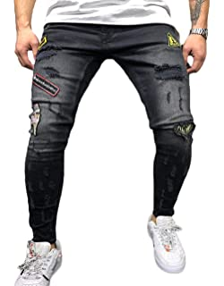 2232255a Yasyamifei Ripped Jeans for Men Skinny Tapered Jeans Black Pant Good  Stretch Awesome