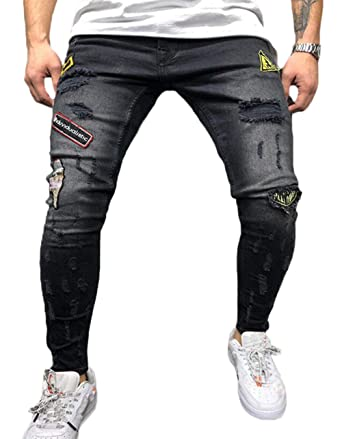 62b1df6c0a1 Yasyamifei Men s Skinny Ripped Jeans Design Pants Good Stretch  Awesome¡¡Broken Holes Tapered Leg