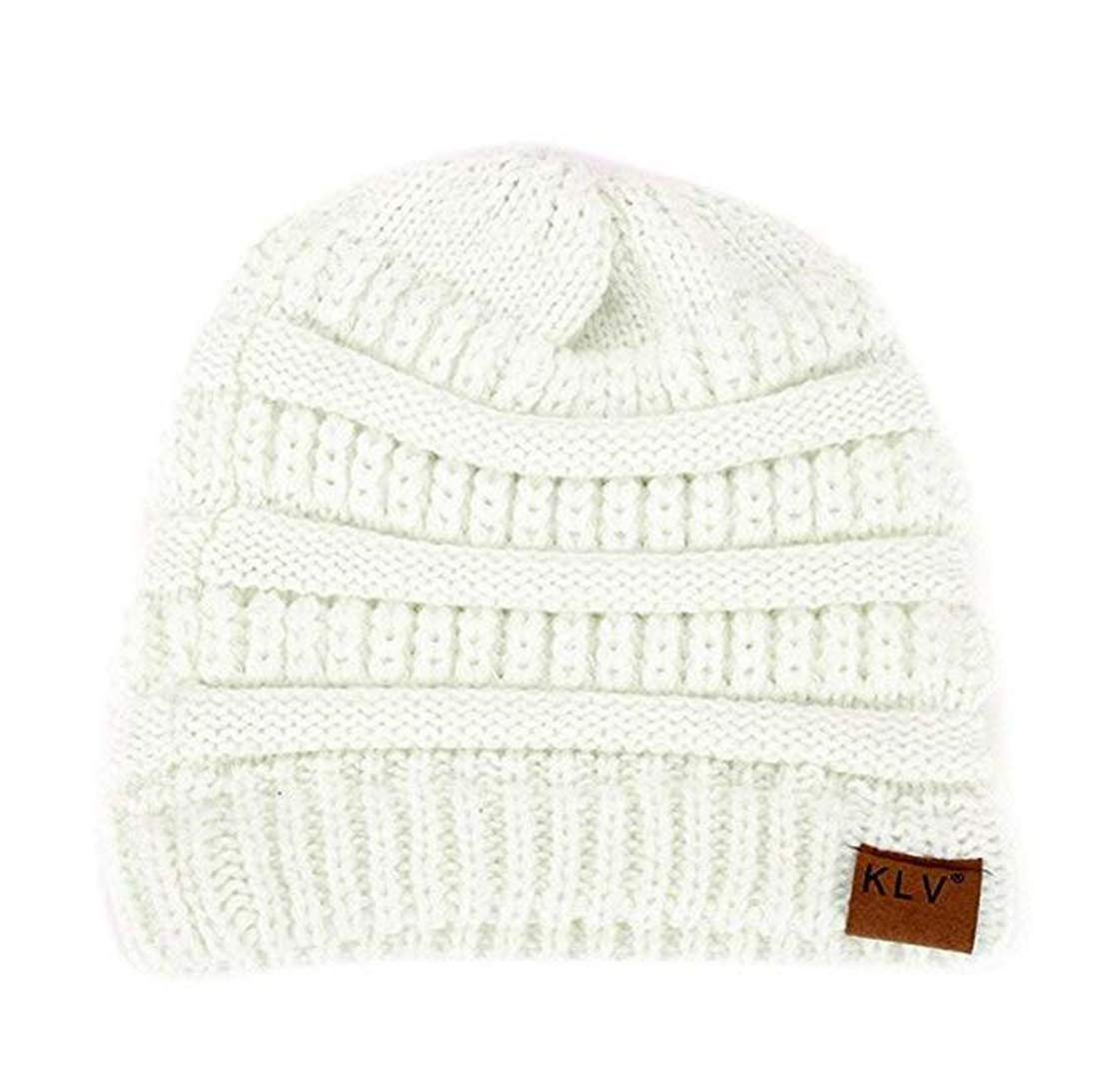 fda732222b8 Amazon.com  Heyuni.1PC Women s Warm Cable Knitted Messy High Bun Hat Beanie  with Hole for Pony Tail Skull Cap