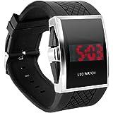 Digiflex Montre bracelet pour homme avec affichage LED rouge numérique–en noir - un cadeau élégant