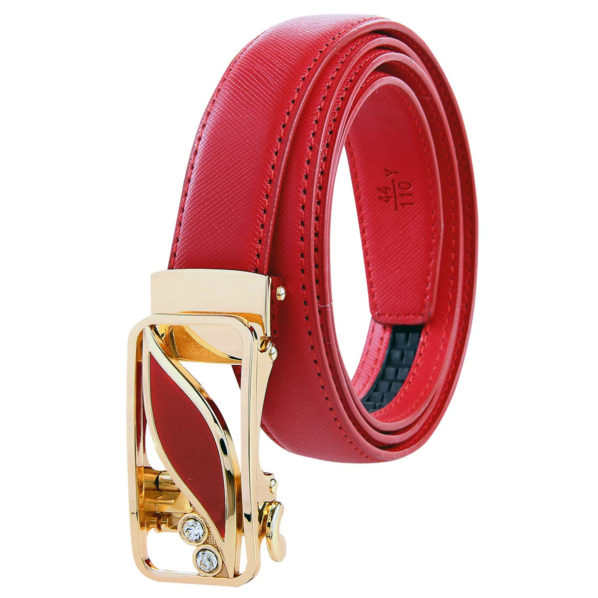Bpstar Women Ratchet Belt Skinny Leather Strap with Sliding Buckle
