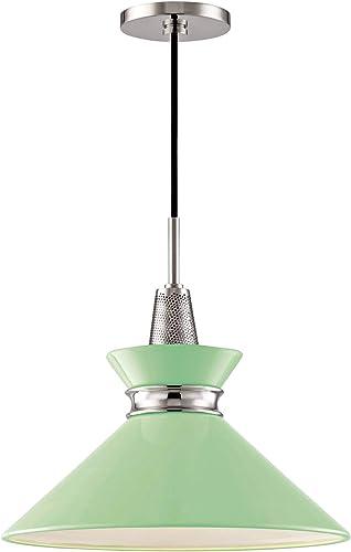 Mitzi Kiki 14 W Polished Nickel Pendant Light w Mint Shade