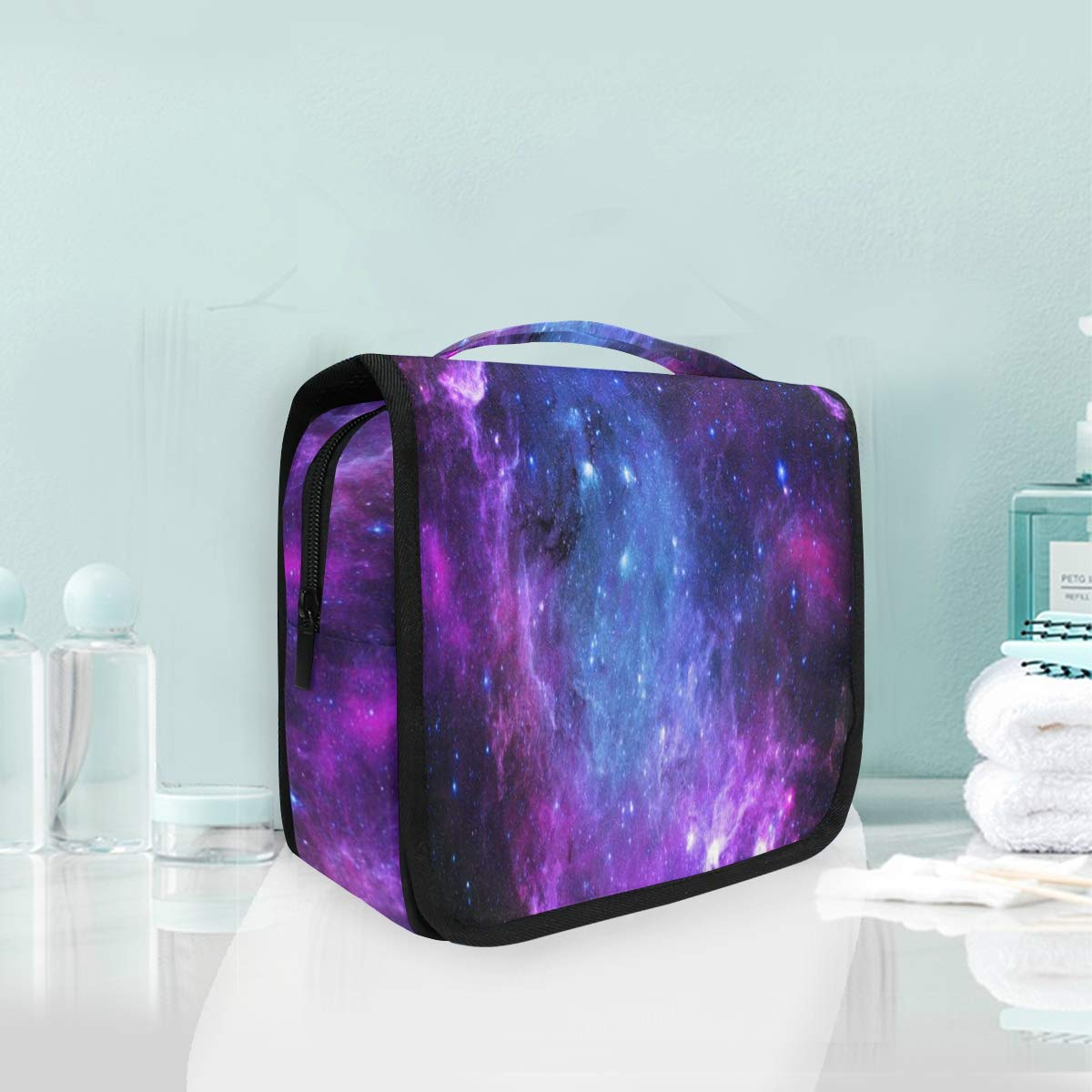 SLHFPX Travel Hanging Toiletry Bag Nebula Purple Galaxy Cosmetic, Makeup and Toiletries Organizer | Compact Bathroom Storage | Home, Gym, Airplane, Hotel, Car Use