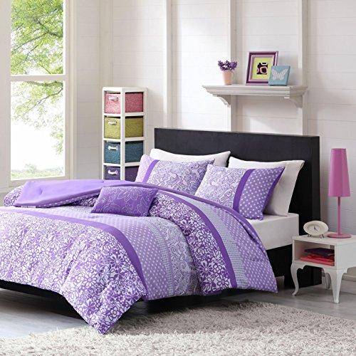 3 Piece Girls Purple White Floral Scroll Motif Comforter Twin XL Set, Beautiful Girly All Over Horizontal Stripe Polka Dot Flower Bedding, Vibrant Pretty Multi Daisy Striped Themed Pattern, (Floral Scroll Stripe)