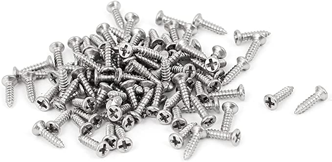 L1002 M4 x 12mm 4 x 12 Self Tapping Silver Cross Button Screw x 10