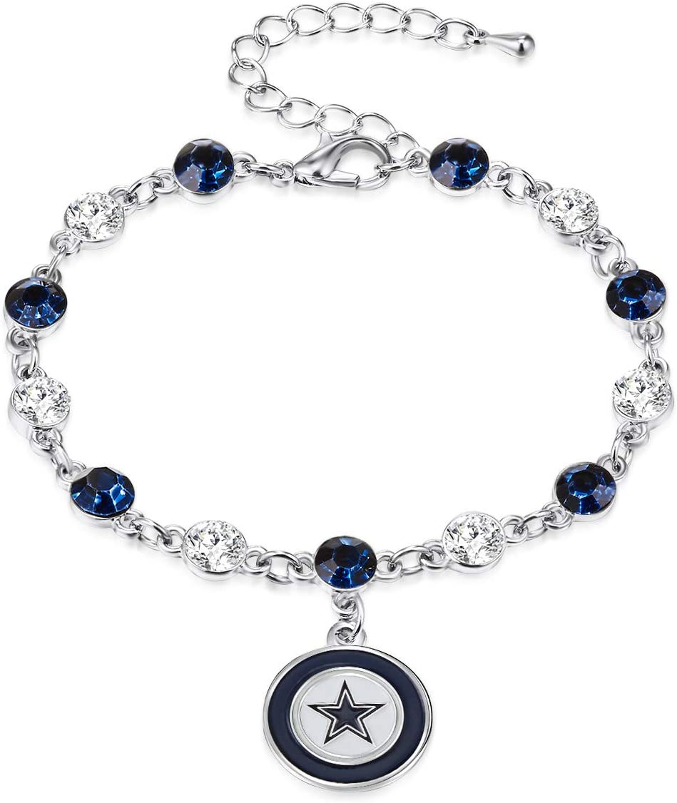 NFL Two Tone Crystal Bracelet   Sports Fan Jewelry Gift   Fashion Jewelry   Birthday & Holiday Gifts for Women and Girls