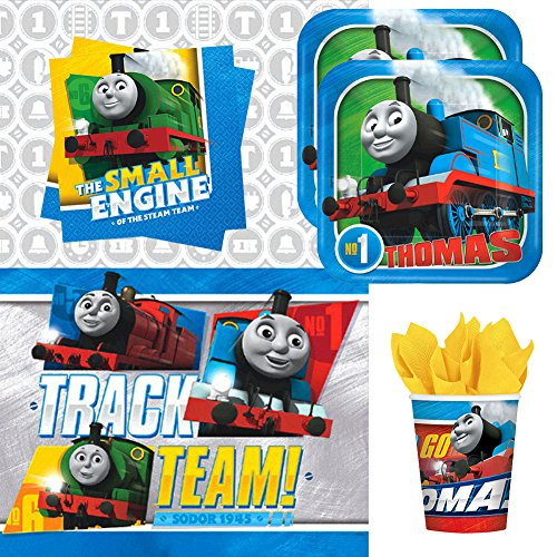- Thomas All Aboard Train Party Supplies Pack for 16 Guests | 16 Stickers, 16 Dessert Plates, 16 Beverage Napkins, 16 Cups, and 1 Table Cover | Train Decorations for The Perfect Train Birthday Party