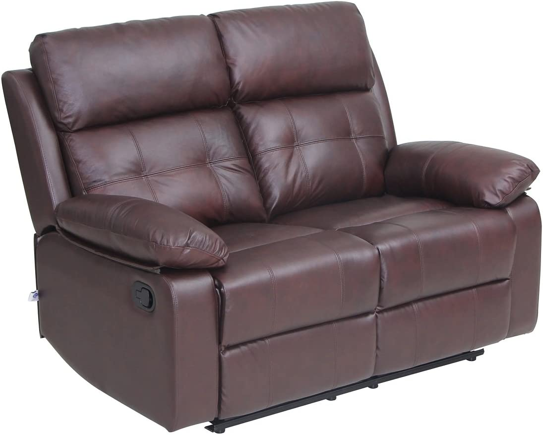 VH FURNITURE Reclining Sofa Set Top Grain Leather Loveseat