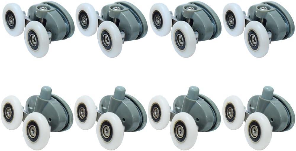 Rodillos de puerta de ducha con dise/ño de mariposa de doble parte inferior Clarmonde 8 unidades, 25 mm de di/ámetroYL027