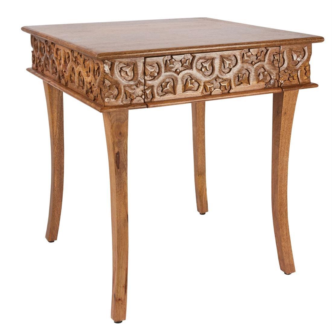 Brylanehome Meena Carved Wood Table (Natural,0) by BrylaneHome