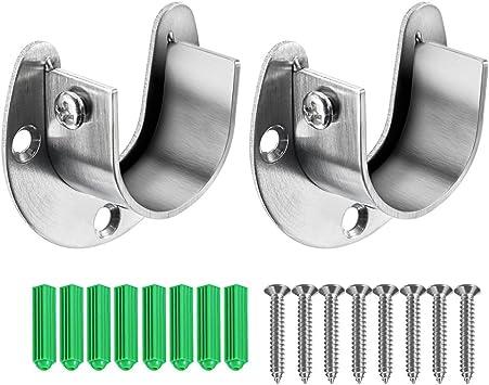 """24 1-3//8/"""" Wooden Closet Rod Pole Dowel Socket Support Bracket Hanger Mount Set"""