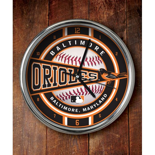 The Memory Company MLB Baltimore Orioles Official Chrome Clock, Multicolor, One Size from The Memory Company