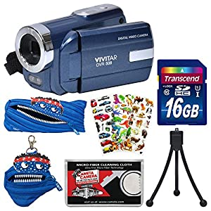Vivitar DVR-508 HD Digital Video Camera Camcorder with 16GB Card + Monstar Case & Pouch + Puffy Stickers + Tripod + Kit