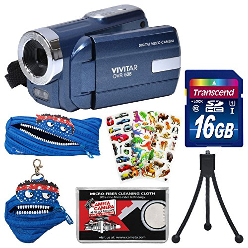 Vivitar DVR-508 HD Digital Video Camera Camcorder (Blue) with 16GB Card + Monstar Case & Pouch + Puffy Stickers + Tripod + Kit
