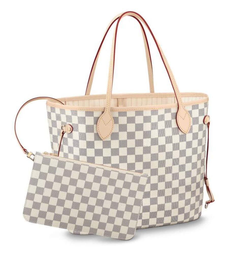 Womens Classic Canvas Neverfull Top-Handle Tote Bag Large Volume Shoulder Bag (MM 32cm, damier Azure with beige inside)