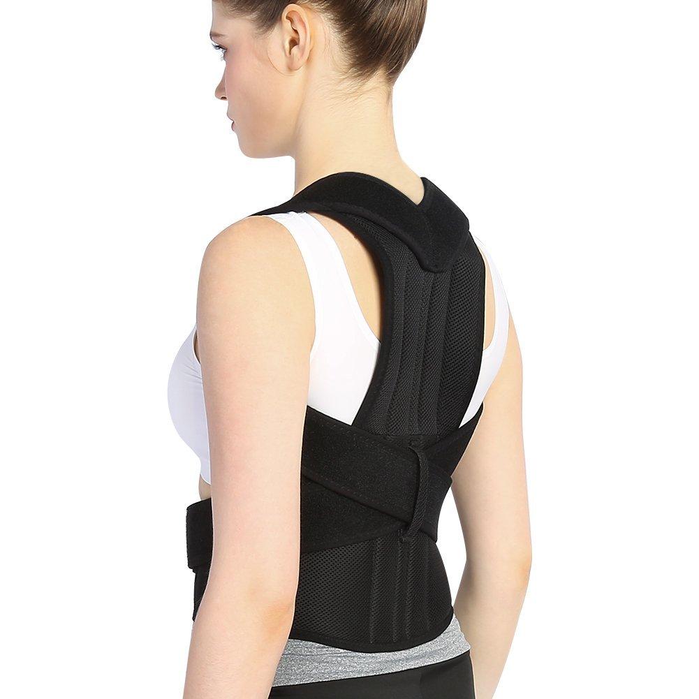 Back Brace Posture Corrector Full Back Support Belts for Upper and Lower Back Pain Relief, with Adjustable Soft Elastic Shoulder Straps, Men Women (S(Waist 30'' - 38''))