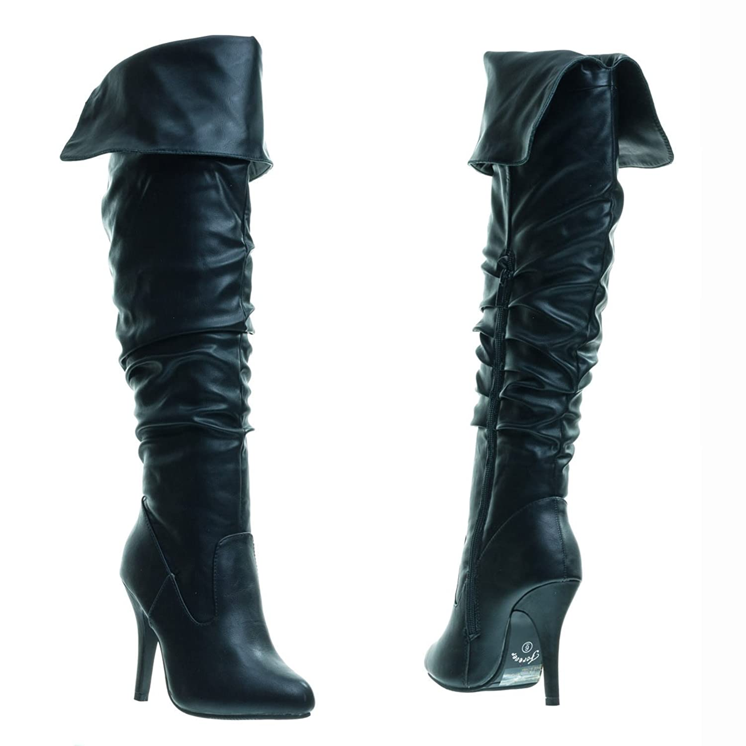 Women's Slouchy Over-The-Knee Thigh-High Foldable Cuff Black High-Heel Boots - DeluxeAdultCostumes.com