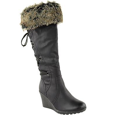 LADIES WOMENS FUR LINED MID WEDGE BOOTS HIGH HEEL WARM WINTER KNEE CALF ZIP  SIZE