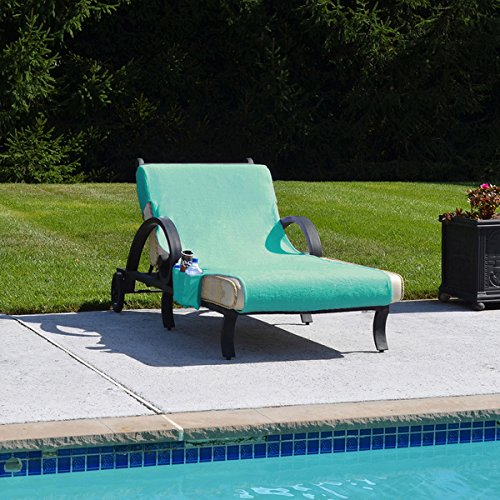 Authentic Turkish Cotton Aqua Green Towel Cover for Standard Size Chaise Lounge Chair with Side Pocket