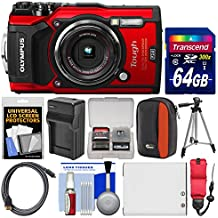 Olympus Tough TG-5 4K Wi-Fi GPS Shock & Waterproof Digital Camera (Red) with 64GB Card + Case + Battery & Charger + Tripod + Float Strap + Kit
