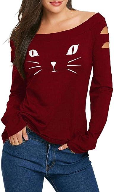 Xmiral - Camisas - Animal Print - Redondo - Manga Larga - para Mujer Rojo Rosso Large: Amazon.es: Ropa y accesorios