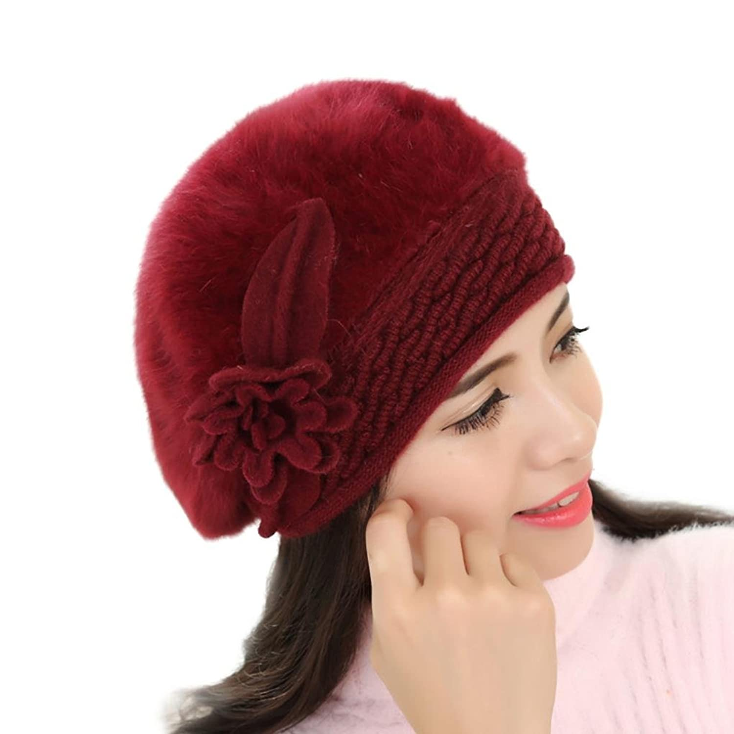 Women Ladies Winter Knitting Hat Warm Wool Snow Ski Caps With Visor