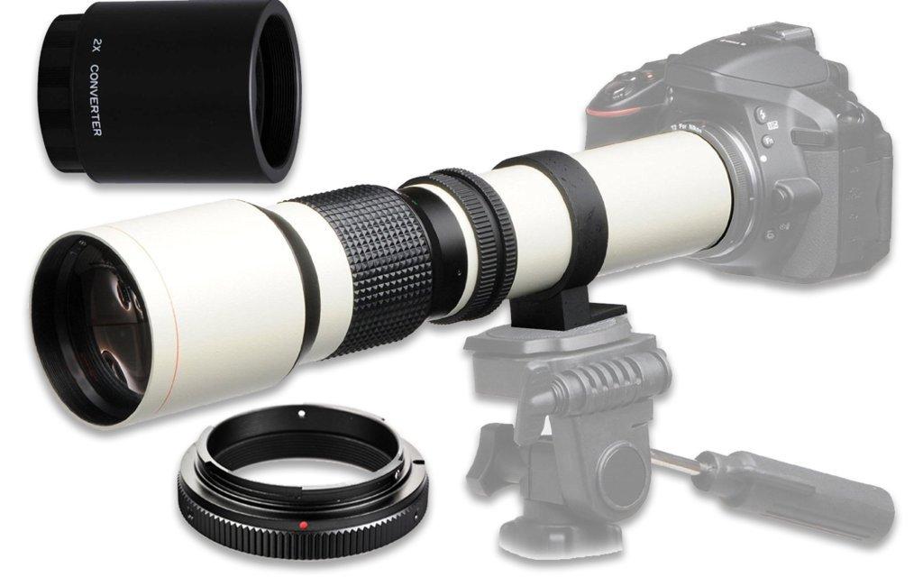 500 mm f / 8手動望遠レンズfor Sony a7r、a7s、a7、a6300 , a6000 , a5100 , a5000、a3000、NEX - 7、NEX - 6、nex-5t、NEX - 5 N、NEX - 5r、3 Nとその他のe-mountデジタルミラーレスカメラ – ホワイト   B01LZYTGQR