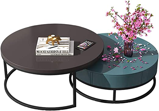 Amazon Com Ritlr Coffee Table Retractable Round Sofa Coffee Table Set With Invisible Large Drawers Sleek Minimalist Carbon Steel Frame Side Table For Modern Home Decor Living Room Kitchen Dining