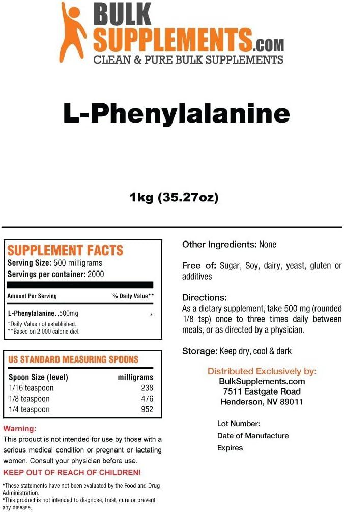 BulkSupplements L-Phenylalanine Powder 1 Kilogram