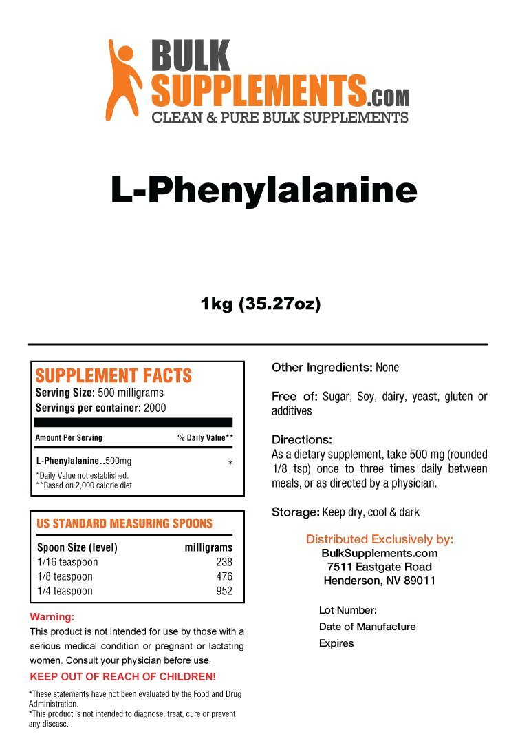 BulkSupplements L-Phenylalanine Powder 5 Kilograms