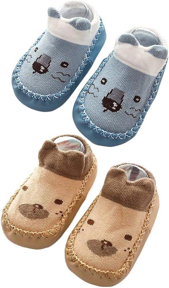 Baby Slipper Socks Prewalker Shoes with Grips Rubber for Toddler Boys Girls