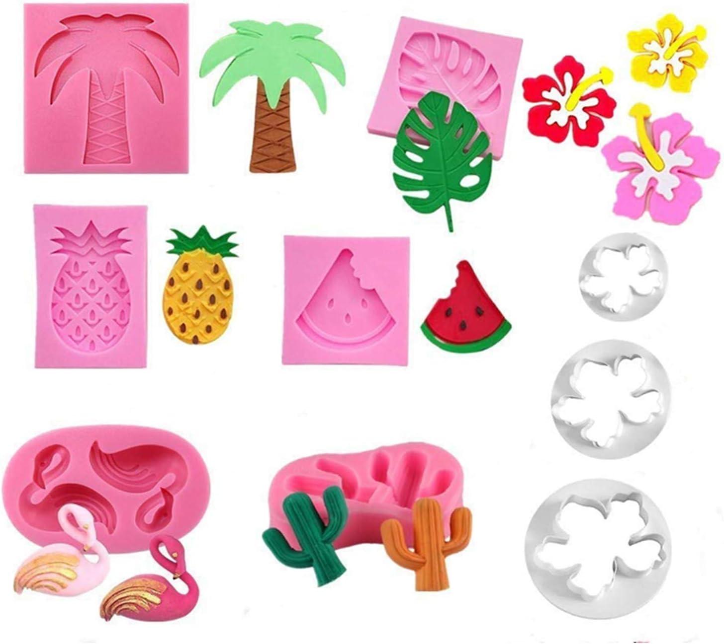 Jasonsy Hawaiian Tropical Rain Forest Theme Cake Fondant Mold Set,Flamingo/Pineapple/Cactus/Watermelon/Tropical Leaf/Coconut Palm Tree/Coconut Tree Flower Candy Silicone Mold Cake Decoration(9 pcs)