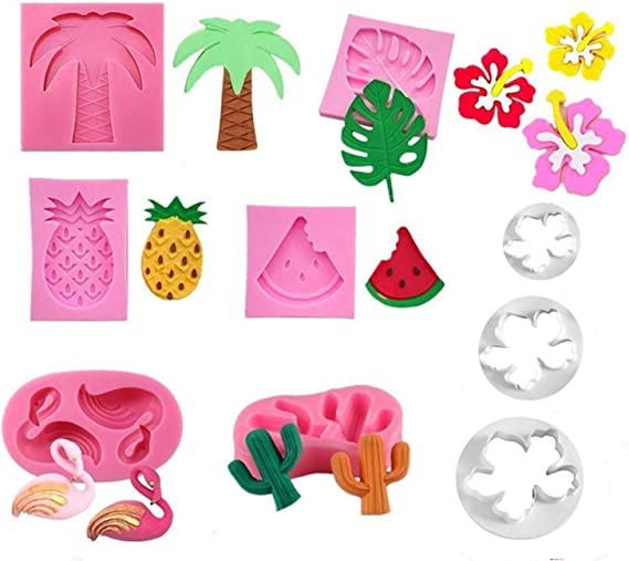 7 PCS/Hawaiian Tropical Theme Cake Fondant Mold Flamingo Palm Leaves Coconut Tree Leaves Pineapple Flowers Candy Chocolate Mold for Summer Cake Decorating