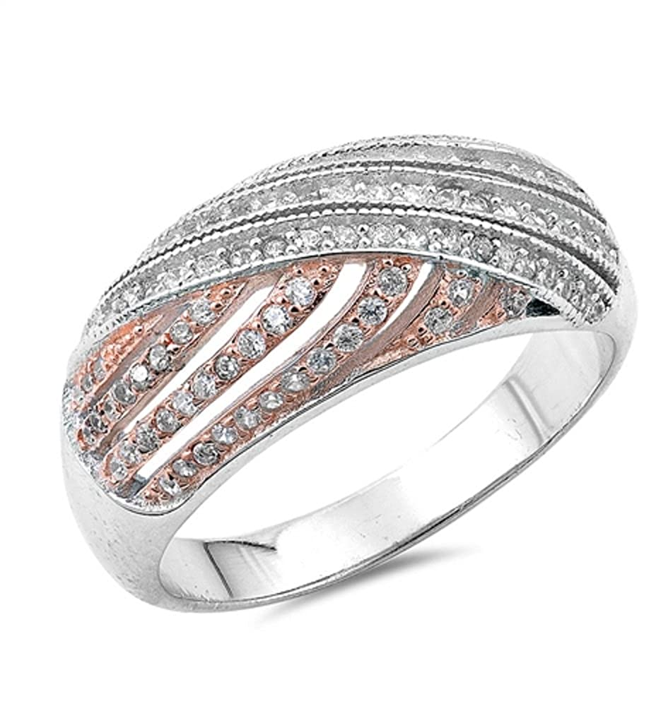 CloseoutWarehouse Cubic Zirconia Fashion Ring Roze Tone Plated Sterling Silver