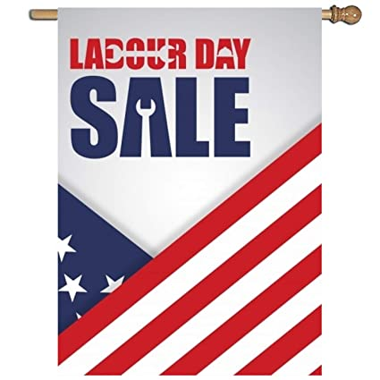 Us Labor Day Sale Illustration Flag One Sided Durable House Banner 27 X 37 Inch